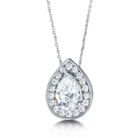 18ct White Gold  G, VS  Diamond pendant pear shaped centre & cluster halo round grain stone detail